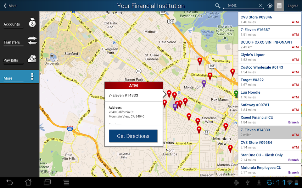 Screenshot of Android Tablet locations map