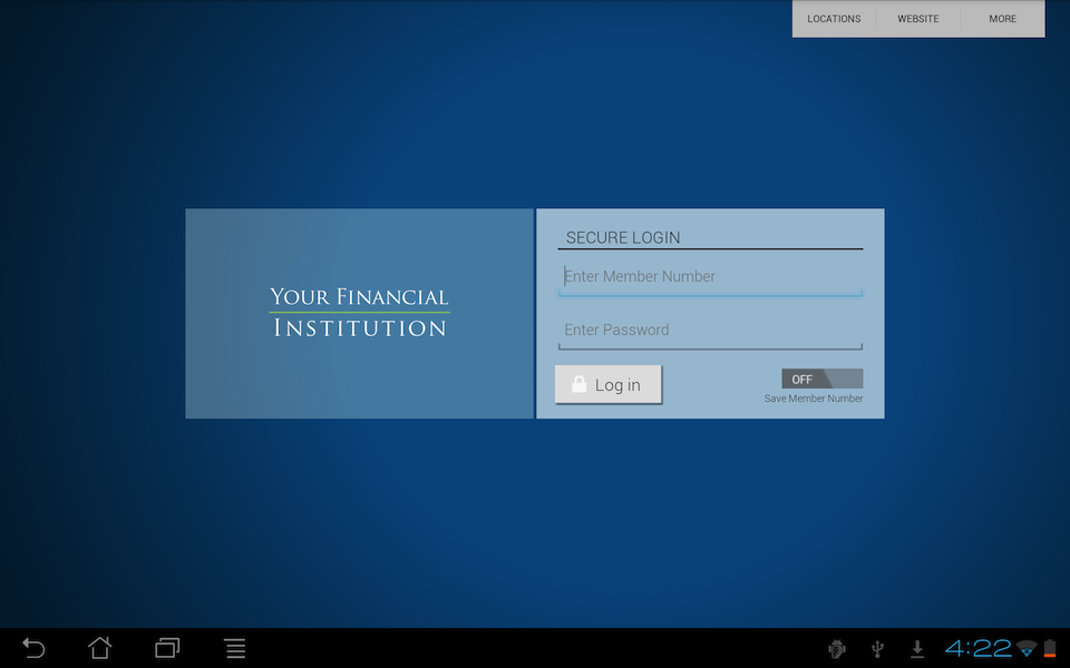 Screenshot of Android Tablet login