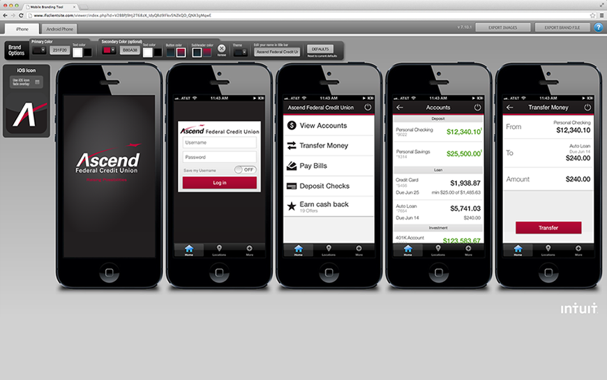 Screenshot of the mobile branding tool for iPhone