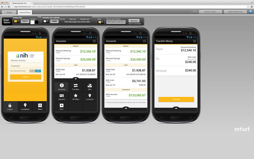 Screenshot of the mobile branding tool for Android