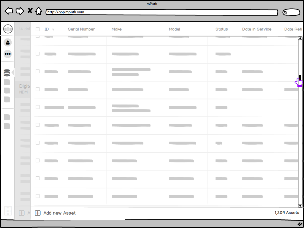 Web App - Sketches - Assets table - scroll