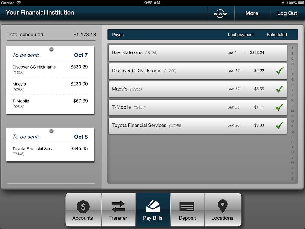 Screenshot of iPad bill pay payees