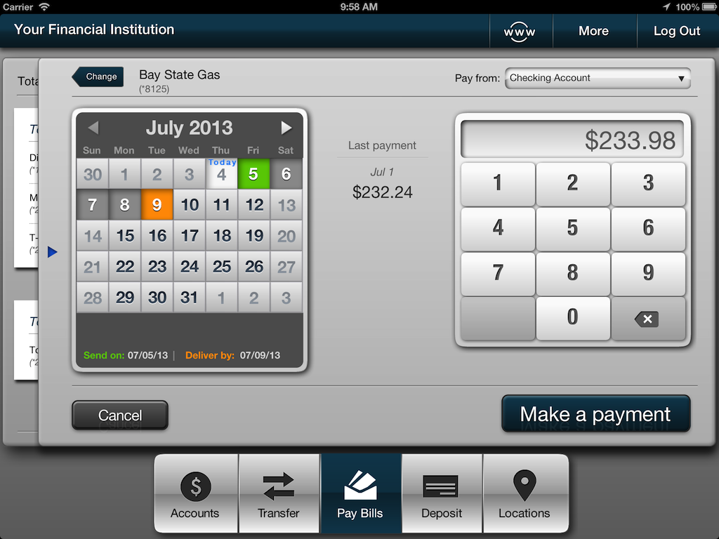 Screenshot of iPad bill payment
