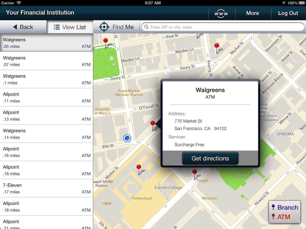 Screenshot of iPad locations map