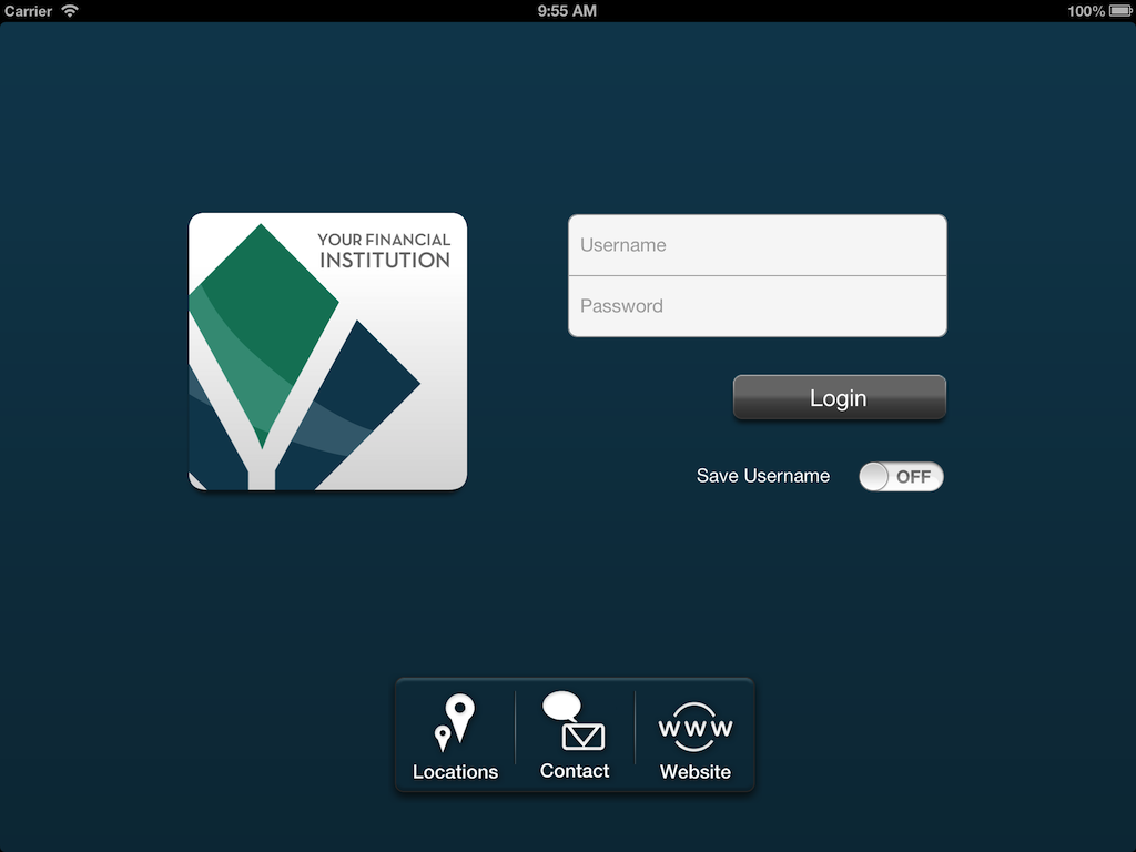 Screenshot of iPad login