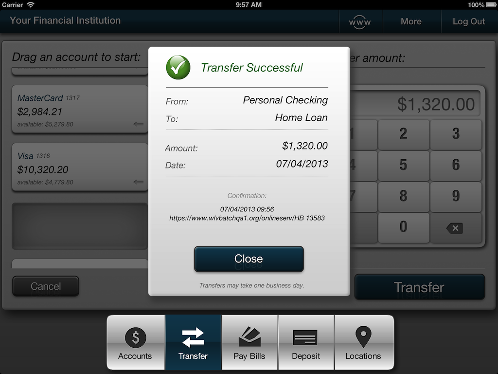 Screenshot of iPad transfer success