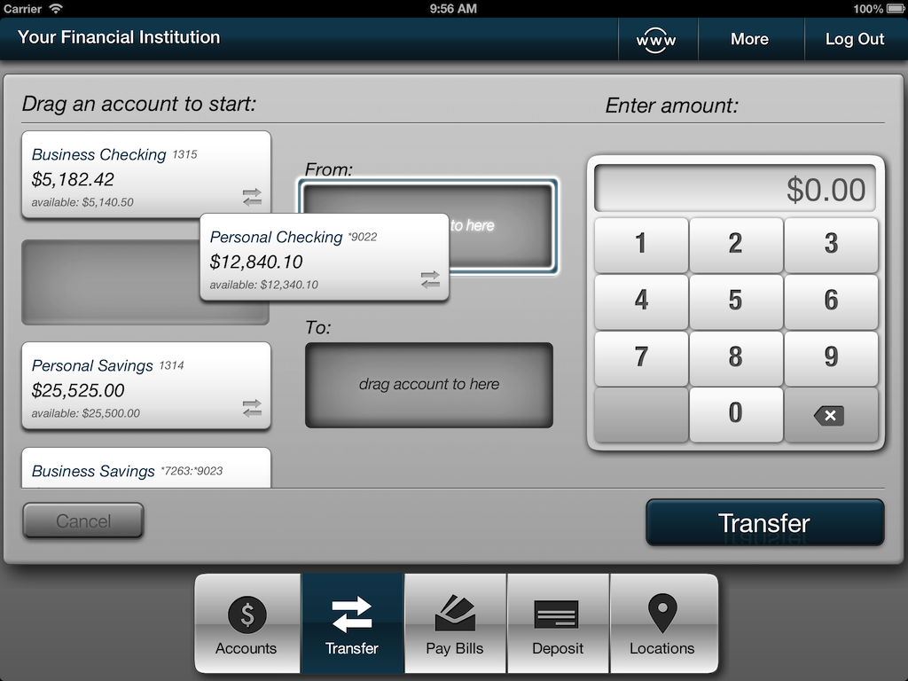 Screenshot of iPad transfers