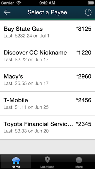 Screenshot of iPhone bill pay payees