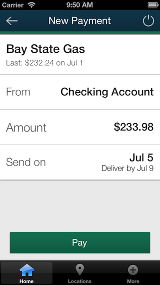 Screenshot of iPhone bill pay payment