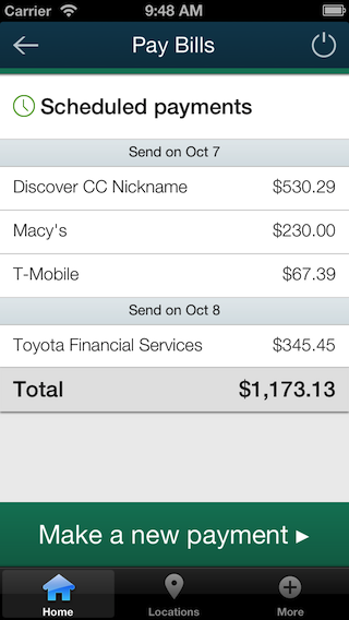 Screenshot of iPhone bill paye scheduled payments