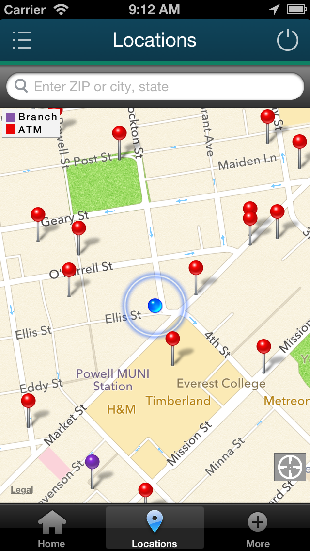 Screenshot of iPhone locations map